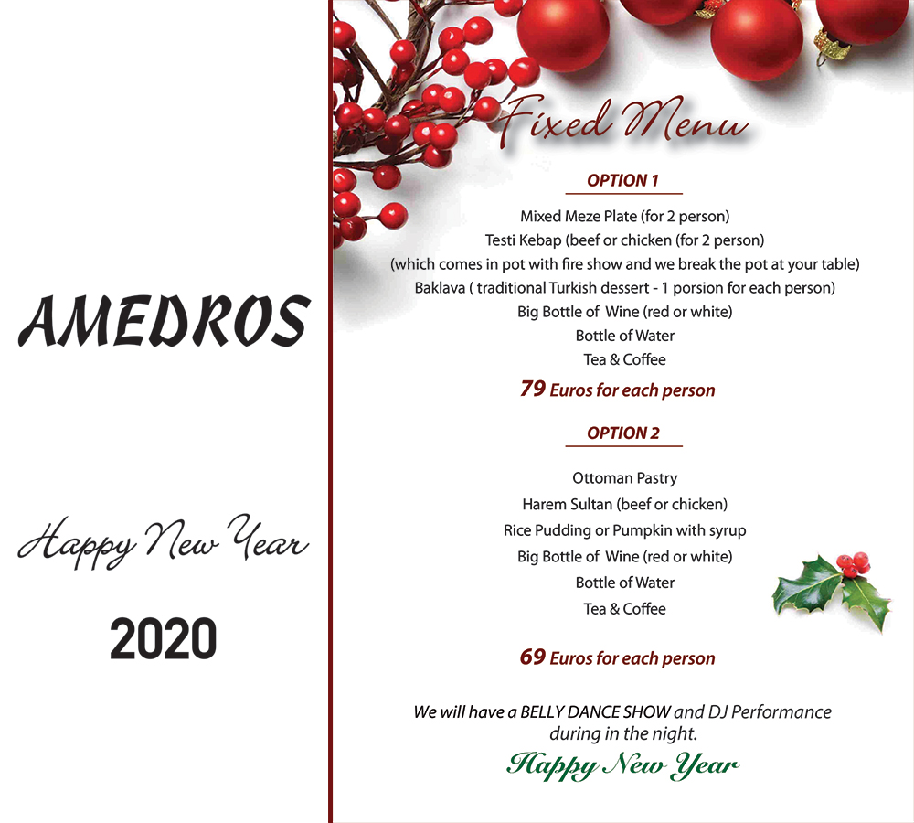 Amedros 2020 New Year Menu